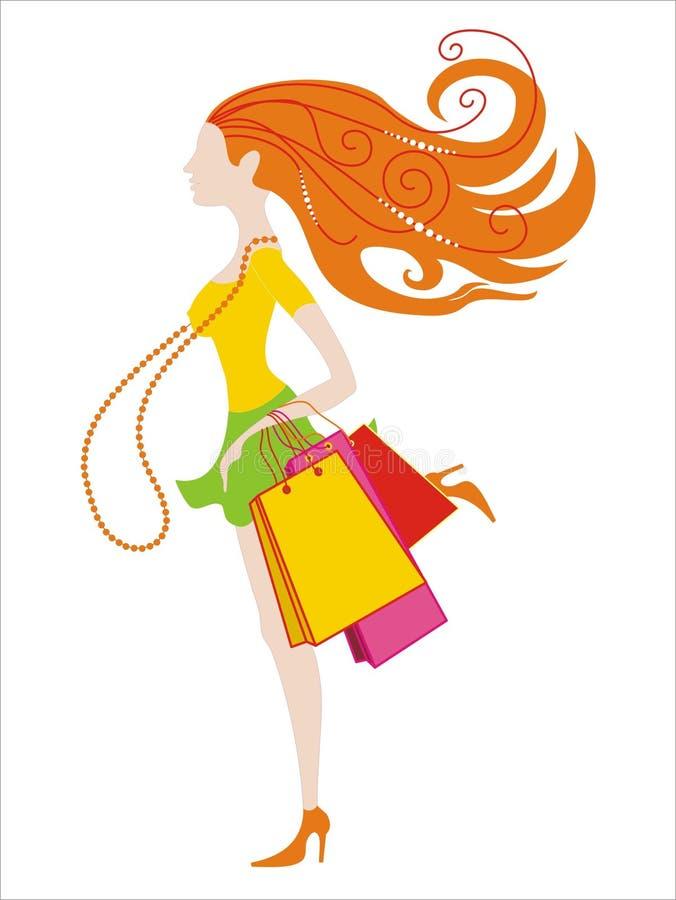 lyckliga köp för flicka royaltyfri illustrationer