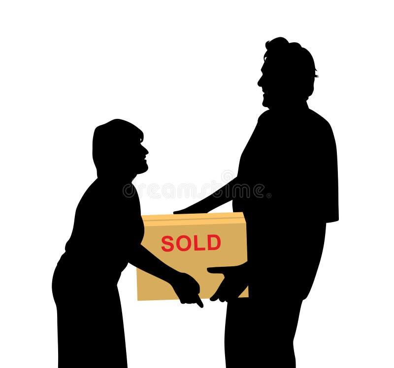 Lyckliga köpare kvinnan och mannen som bär något, packade i en ask stock illustrationer