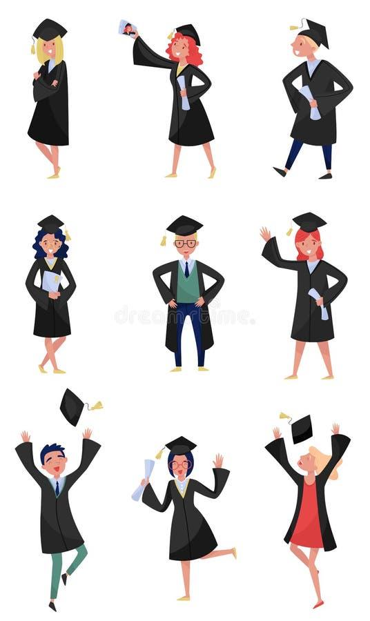 Lyckliga kandidater ställde in och att le avläggande av examenstudenter i kappor som rymmer diplom i deras handvektorillustration stock illustrationer
