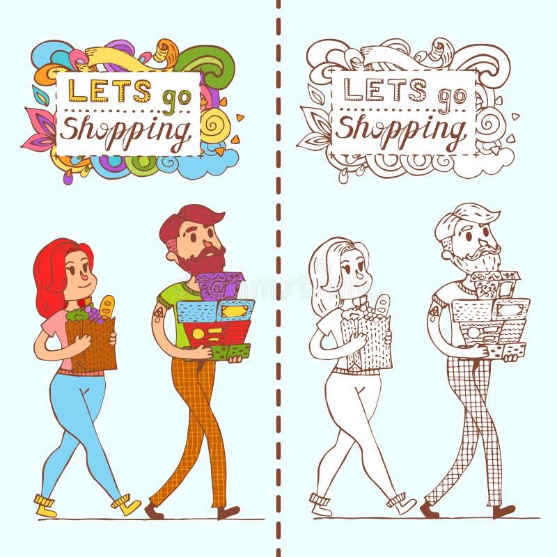 Lyckliga klotterkonsumenter med fulla påsar för en shopping shoppar in stock illustrationer
