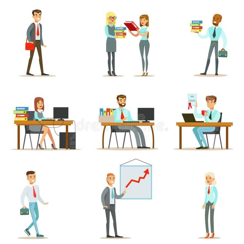 Lyckliga kontorsarbetare och chefer som arbetar i kontorsutrymmet vektor illustrationer