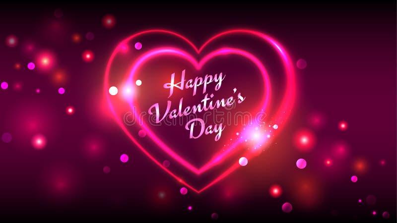 Lyckliga kort för hälsning för valentindagvektor, röd rosa neonhjärtaform på mörk mousserande bakgrund stock illustrationer