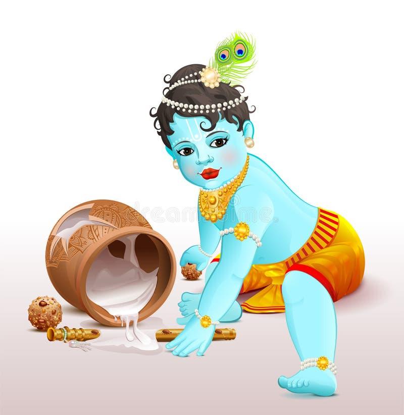 Lyckliga Krishna Janmashtami Guden för den blåa pojken bröt krukan med yoghurt royaltyfri illustrationer