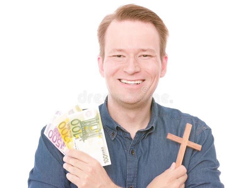 Lyckliga kristna pengar royaltyfria bilder