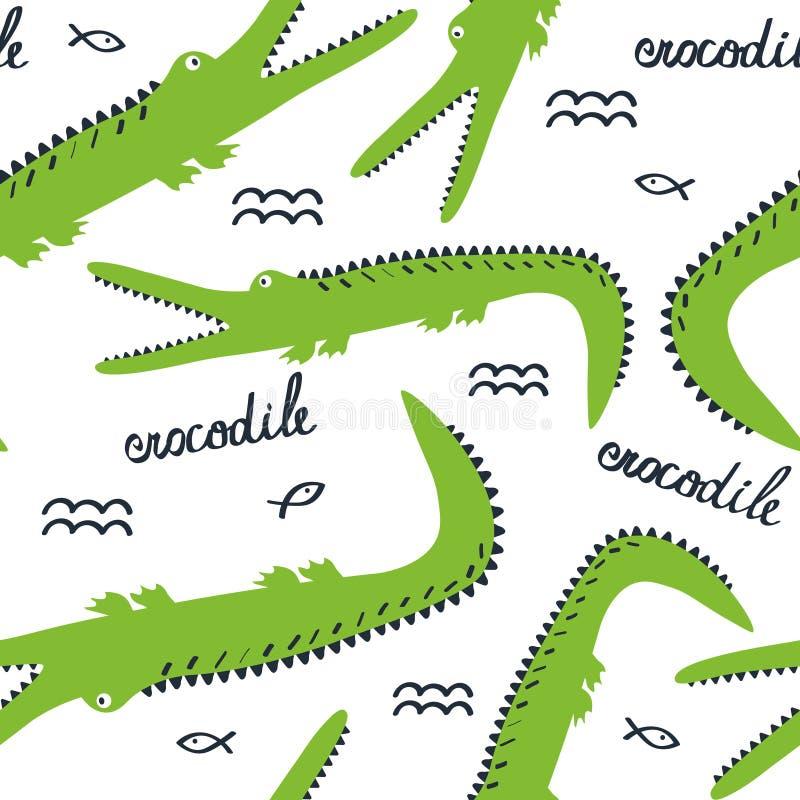 Lyckliga krokodiler, färgrik gullig sömlös modell Dekorativ bakgrund med djur stock illustrationer