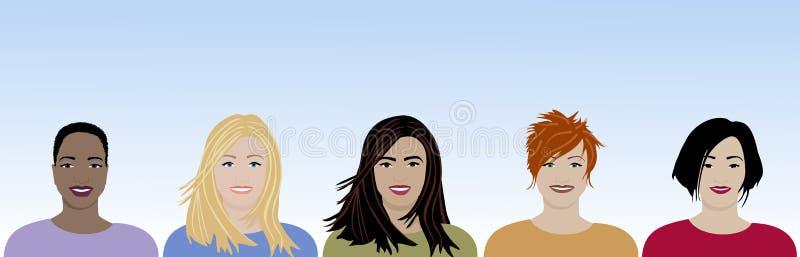 Lyckliga kulturella kvinnor stock illustrationer