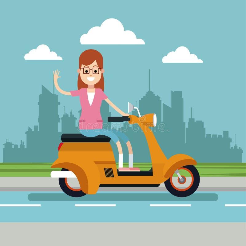 Lyckliga kvinnaexponeringsglas som rider stads- bakgrund för sparkcykel stock illustrationer