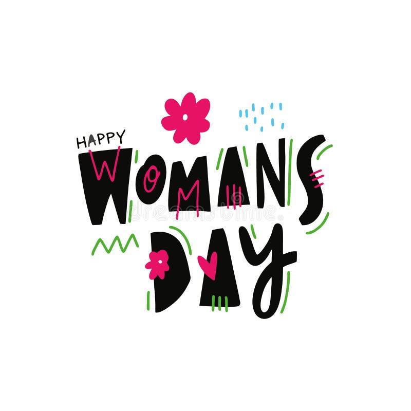 Lyckliga kvinnas dag Vektorillustration och bokstäver för hand utdragen Tecknad filmstil bakgrund isolerad white vektor illustrationer