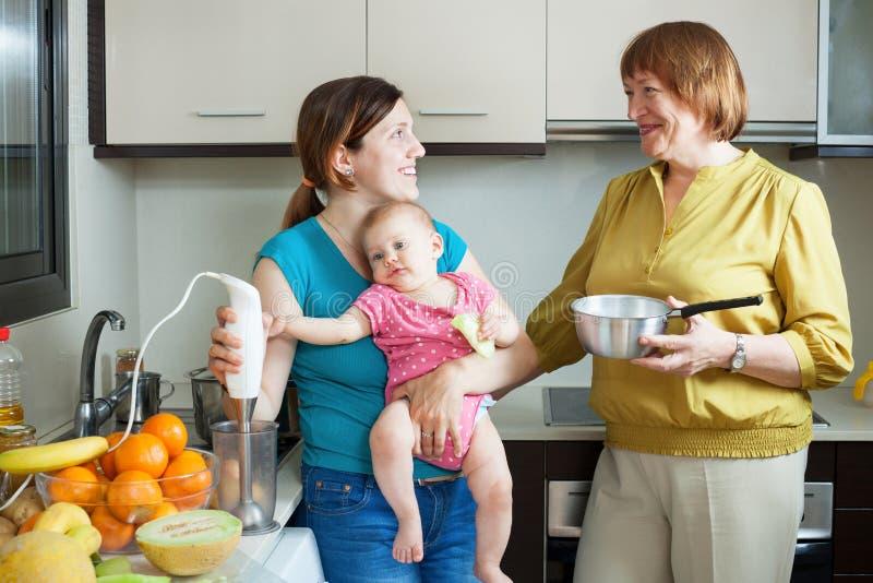 Lyckliga kvinnor av tre utvecklingar med blandaren arkivfoto