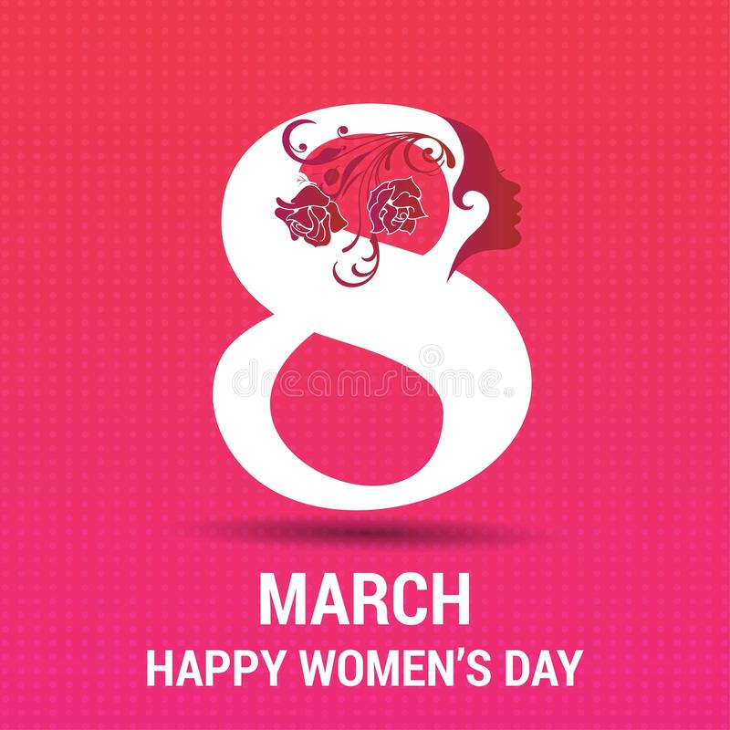 8 lyckliga kvinnor för marsch \ 's-dagkort med modellbakgrund stock illustrationer