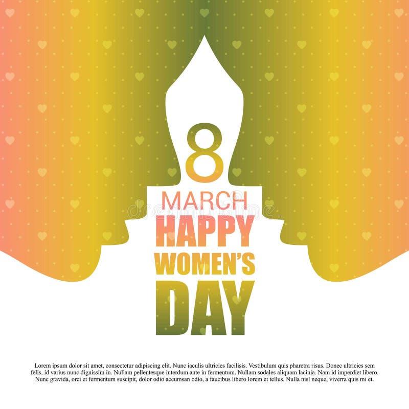 8 lyckliga kvinnor för marsch \ 's-dagkort med modellbakgrund royaltyfri illustrationer
