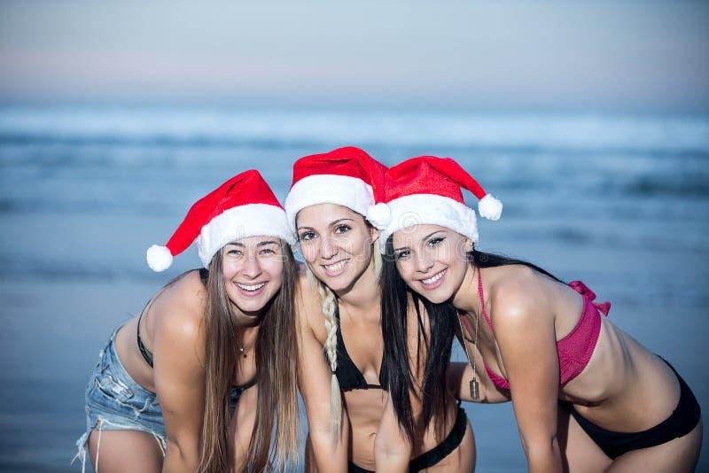 Lyckliga kvinnor som poserar i julhattar arkivbild