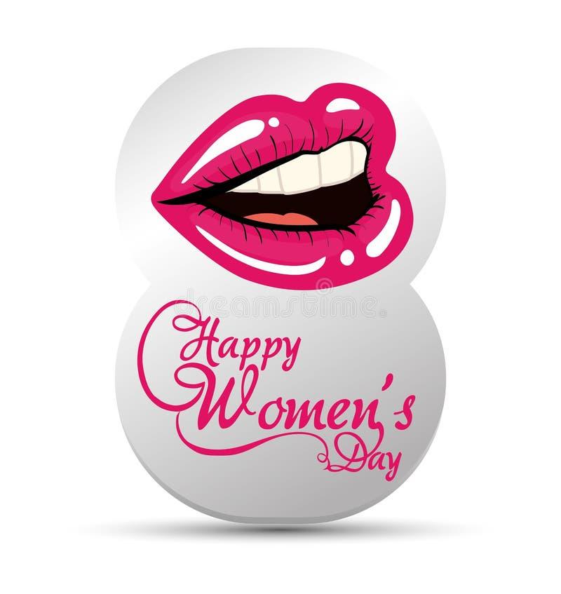 lyckliga kvinnors dag åtta med kantflickan royaltyfri illustrationer