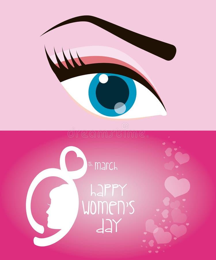 lyckliga kvinnors dag ögonflicka för åtta marsch stock illustrationer