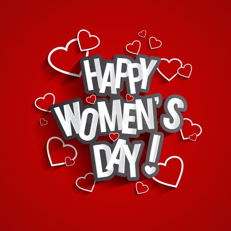 Lyckliga kvinnors dag stock illustrationer
