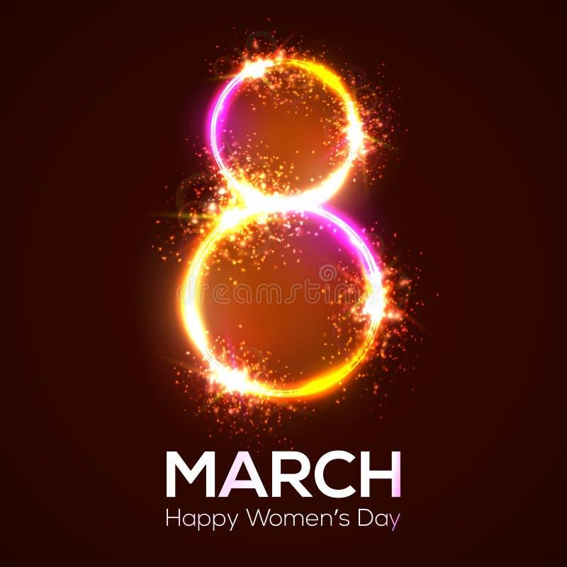 Lyckliga kvinnors dag 8 marsch i neoncirkel med glöd vektor illustrationer