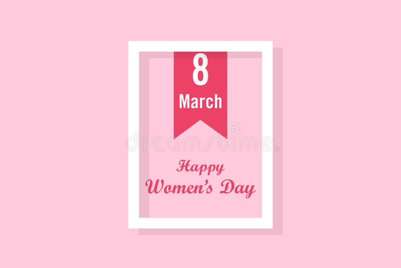 Lyckliga kvinnors dag med bokmärken och vit ram i rosa bakgrund stock illustrationer