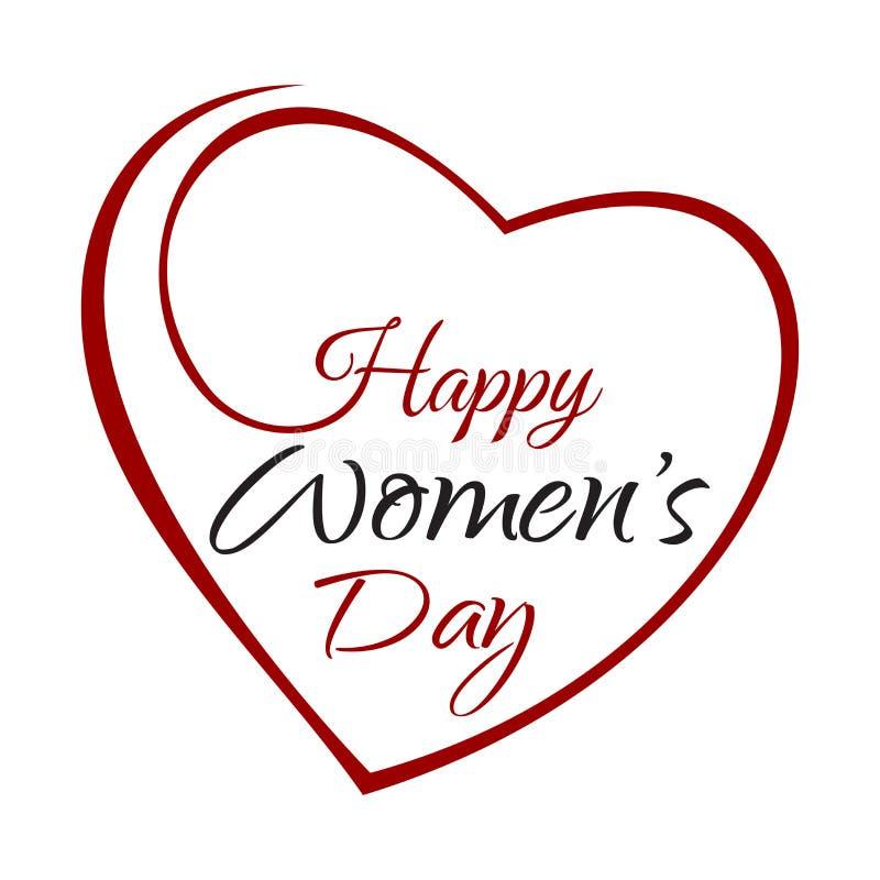 Lyckliga kvinnors dag Räcka bokstäver på bakgrundsramen av hjärtor stock illustrationer