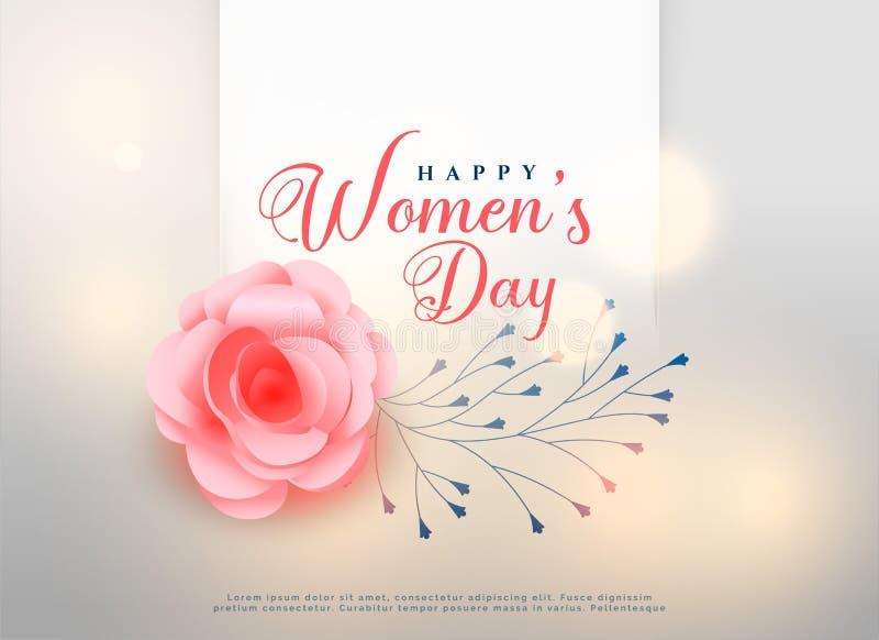 Lyckliga kvinnors dag steg blommabakgrundskortet stock illustrationer