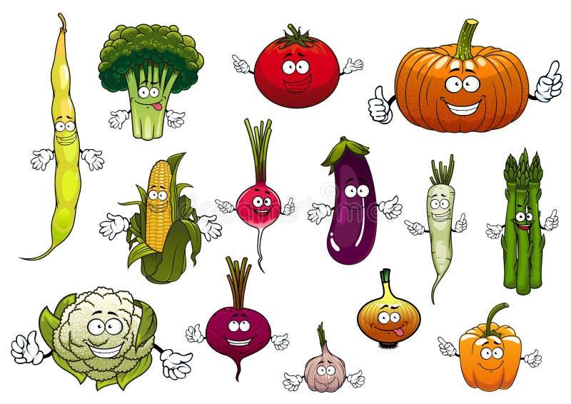 Lyckliga lantgårdgrönsaker för sund tecknad film stock illustrationer