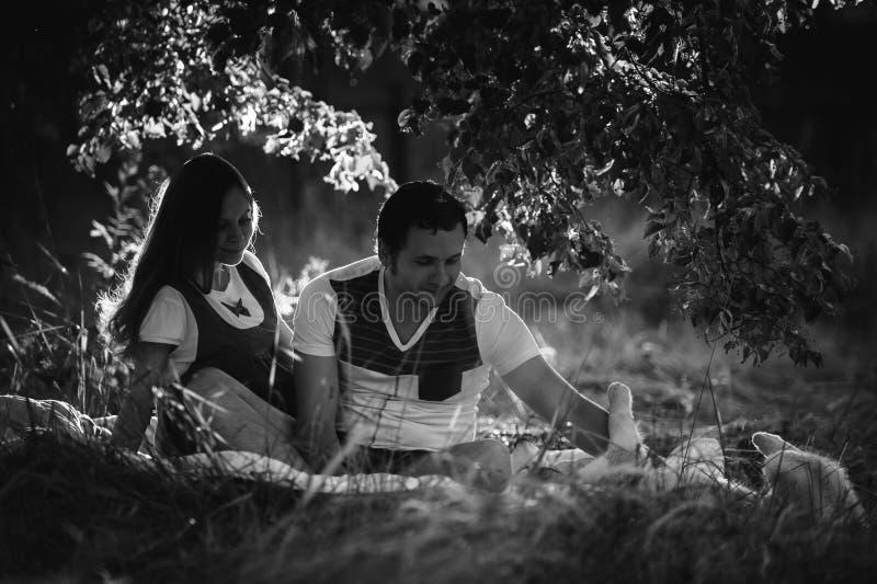 Lyckliga le par som kopplar av på grönt gräs royaltyfri bild