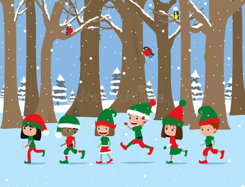Lyckliga lilla ungar som slitage Santas hatt Gulliga tecknad filmungar som bär älvadräkter vektor illustrationer