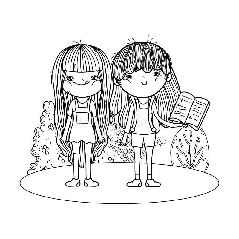 Lyckliga liten flickaläseböcker i landskapet stock illustrationer