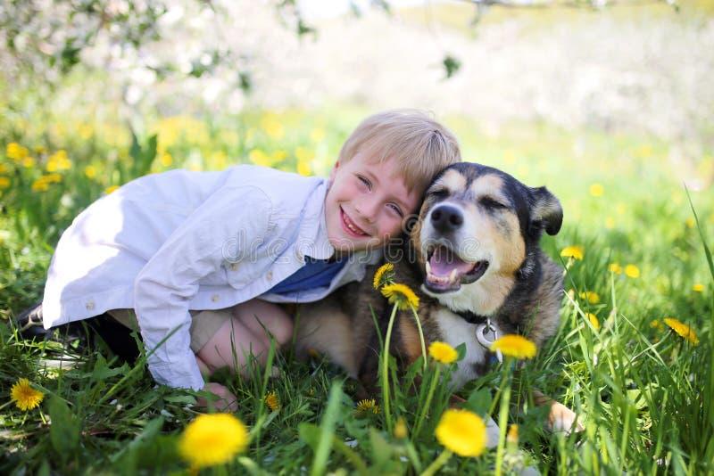 Lyckliga Little Boy som kopplar av i blommaäng och kramar hans husdjur D fotografering för bildbyråer