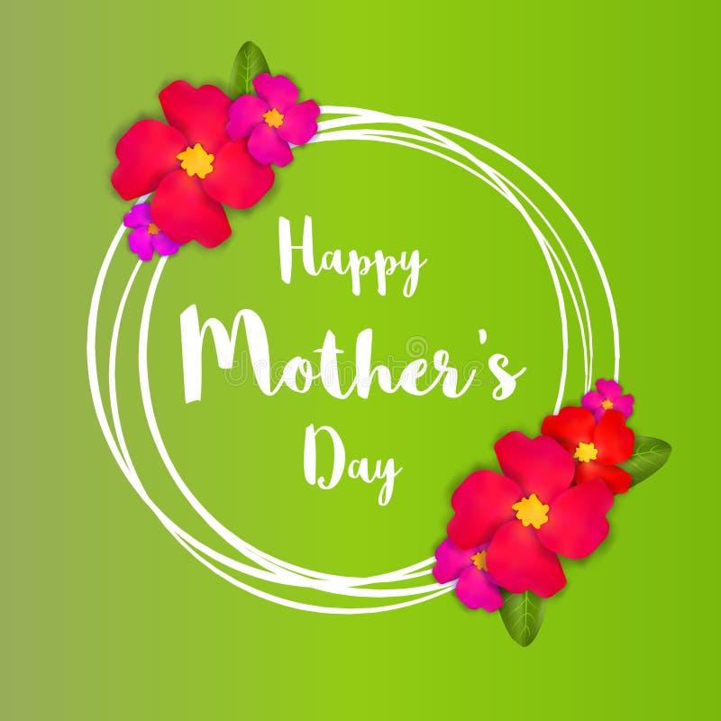 lyckliga mödrar för dag Det rosa blom- hälsningkortet med gruppen av våren blommar vektor illustrationer