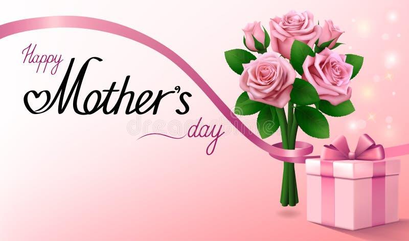 lyckliga mödrar för dag Gåvaask och bukett av rosa rosor med bandet Ljus - rosa hälsningbakgrund stock illustrationer