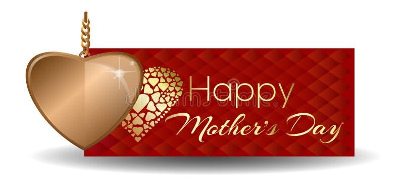 lyckliga mödrar för dag Hälsningkort med guld- hjärta vektor illustrationer