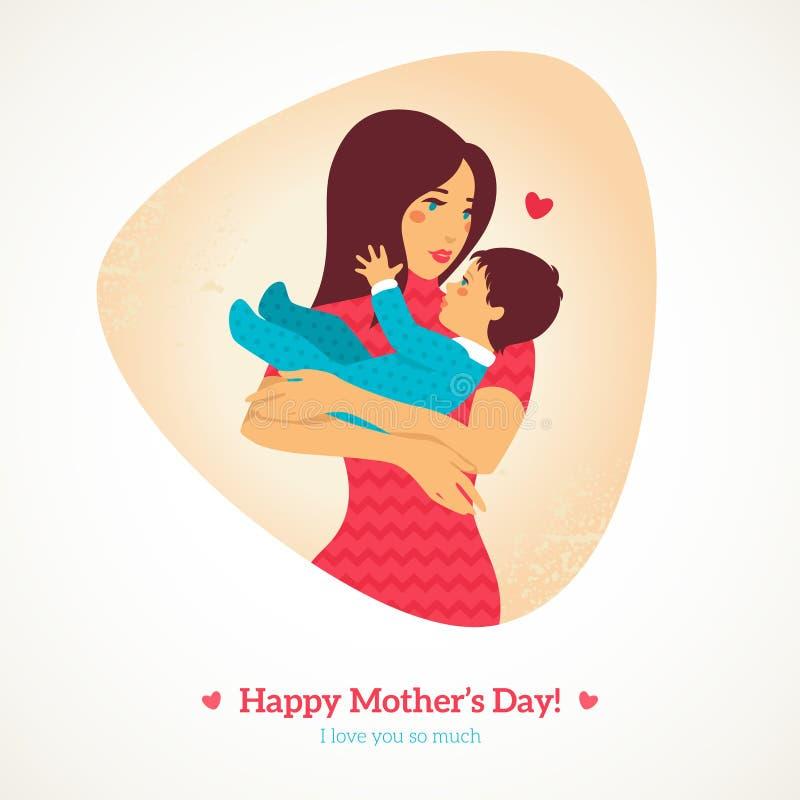 lyckliga mödrar för dag också vektor för coreldrawillustration stock illustrationer