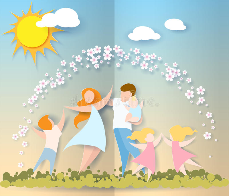 lyckliga mödrar för dag papperssnittstil vektor illustrationer