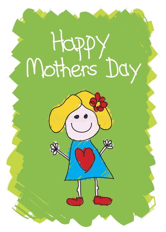 lyckliga mödrar för dagflicka vektor illustrationer