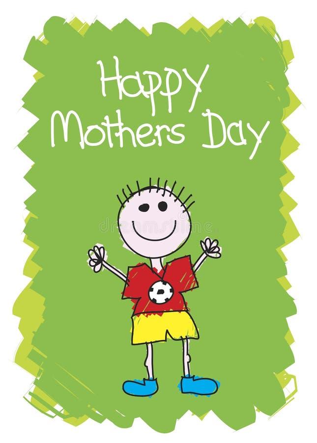 lyckliga mödrar för pojkedag stock illustrationer