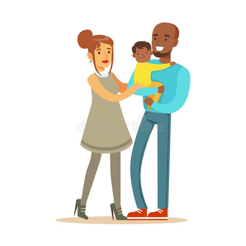 Lyckliga mellan skilda raser par med deras lilla mullato behandla som ett barn den färgrika teckenvektorillustrationen stock illustrationer
