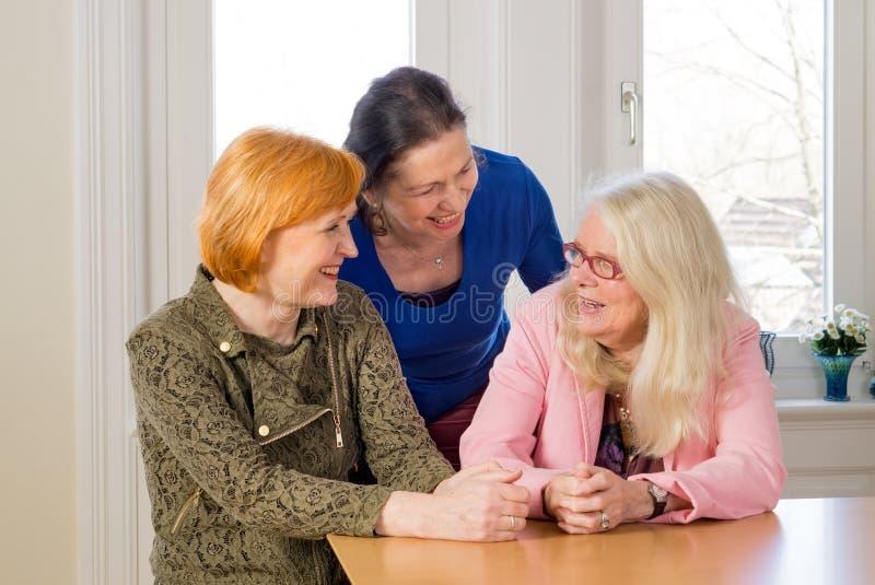 Lyckliga mellersta ålderkvinnor som talar på att äta middag tabellen fotografering för bildbyråer