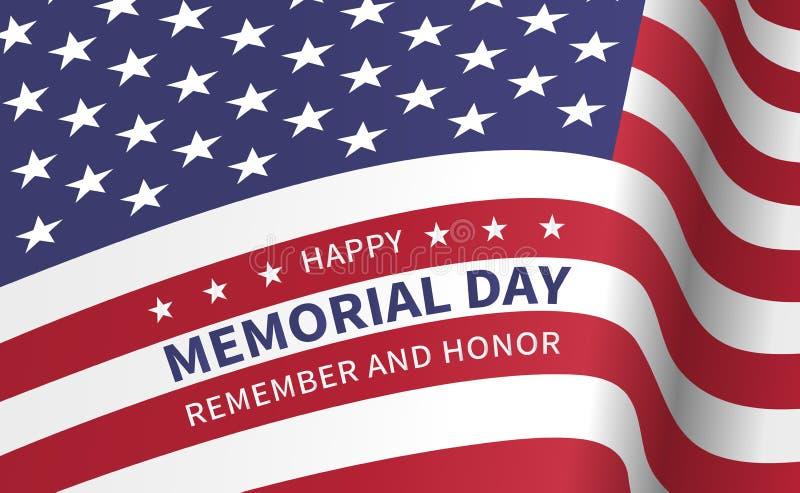 Lyckliga Memorial Day, minns och hedrar - affischen med flaggan av vektor illustrationer