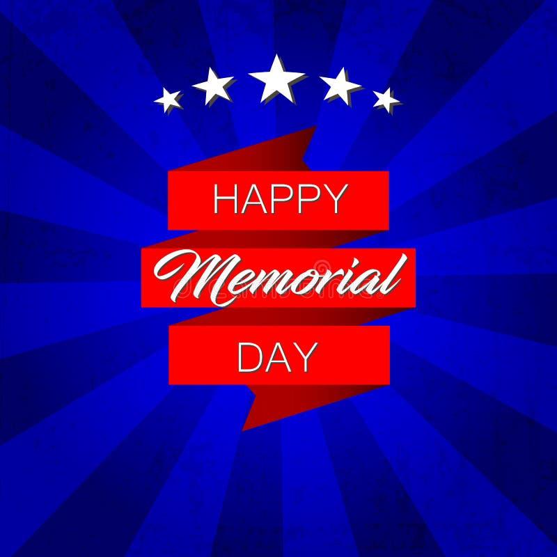 Lyckliga Memorial Day! vektorillustration på blå bakgrund vektor illustrationer