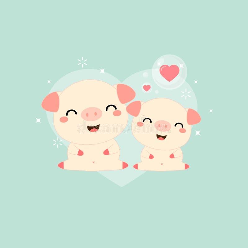Lyckliga moders dag Hälsningkort med den gulliga mamman och att behandla som ett barn svinet stock illustrationer