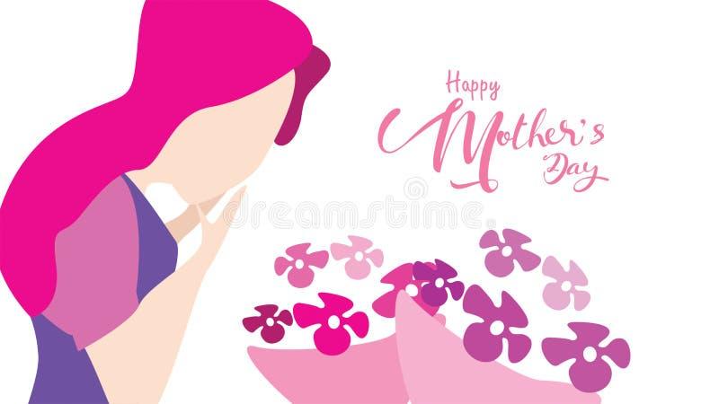 Lyckliga moders dag! Nära övre stående av den unga härliga kvinnan som ler och förvånar Attraktiv kvinna med tulpanblommor stock illustrationer