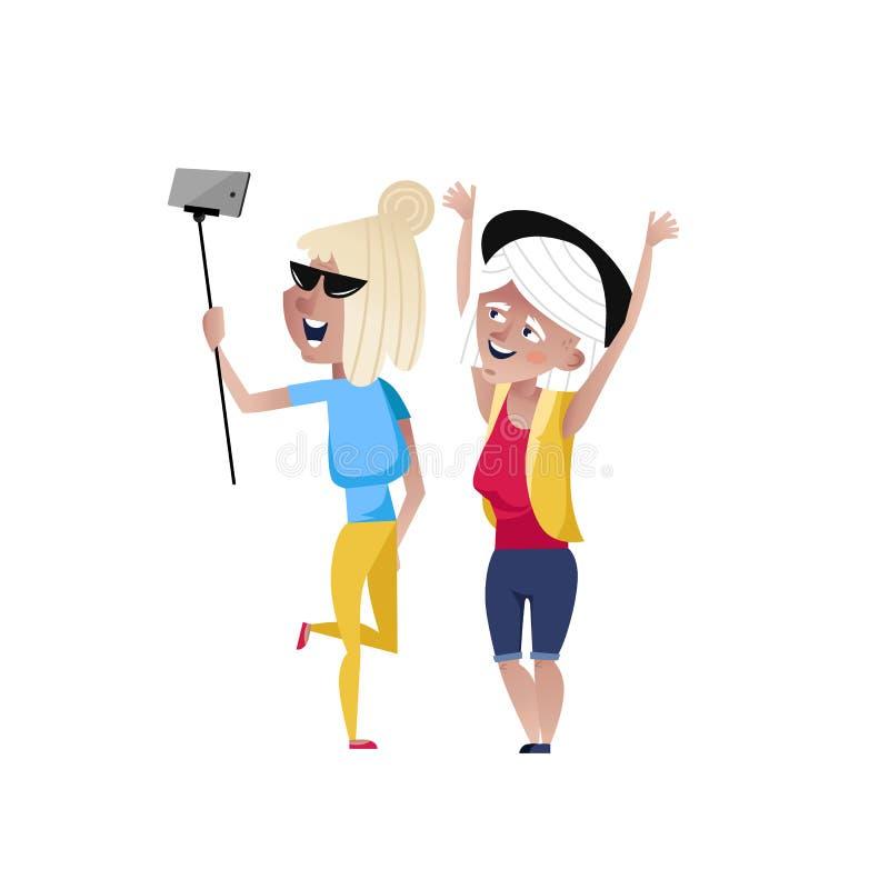 Lyckliga mogna kvinnor som gör selfieteckenet vektor illustrationer