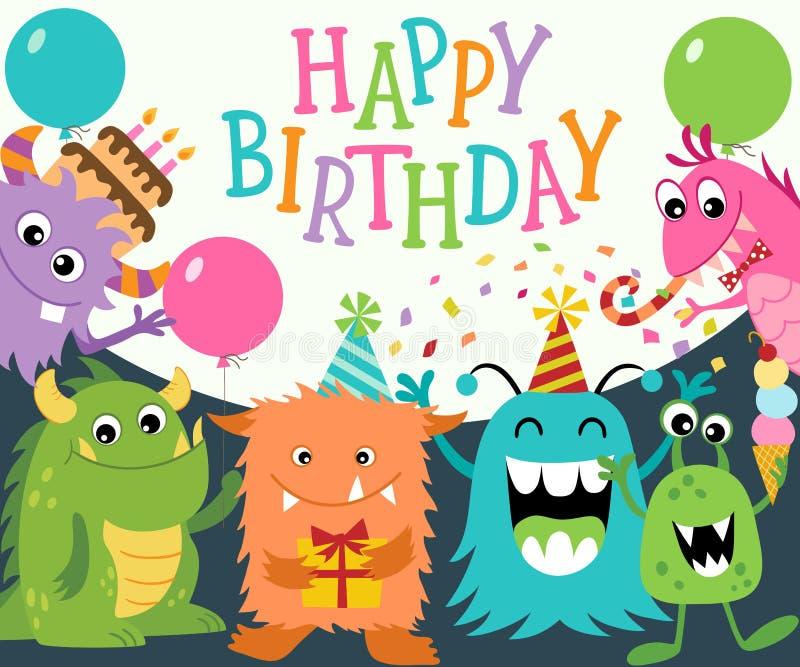lyckliga monster för födelsedag royaltyfri illustrationer