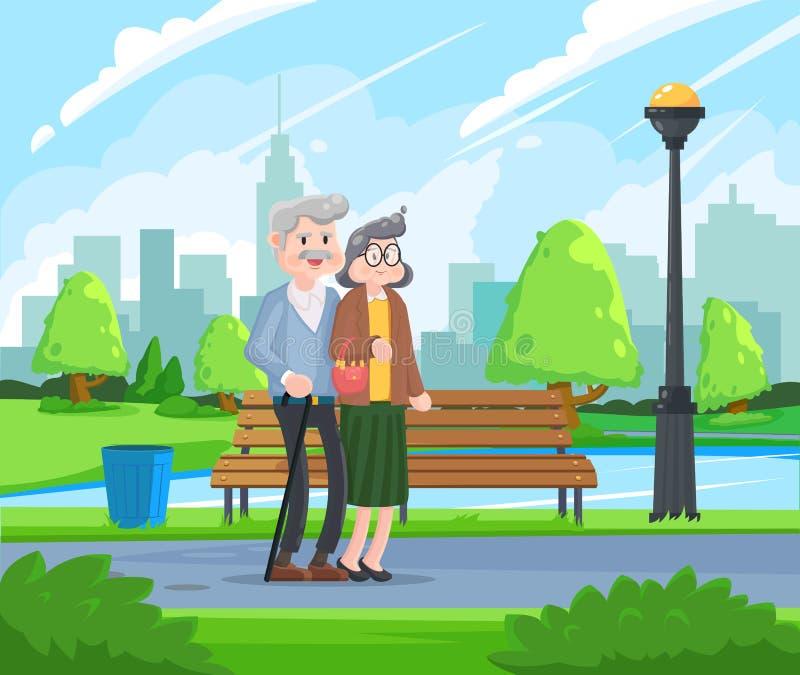 Lyckliga morföräldrar - hög kvinna och man som går i parkera åldriga par stock illustrationer