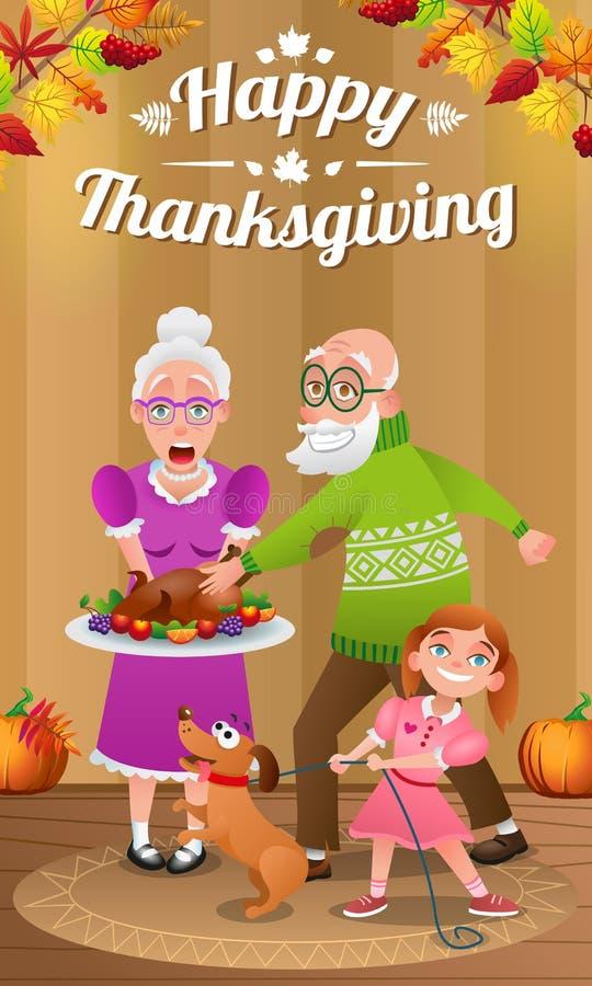 Lyckliga morföräldrar och sondotter med den bakade kalkon på tacksägelse stock illustrationer