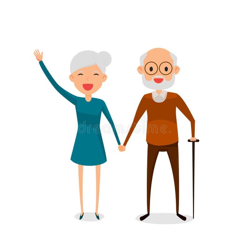 Lyckliga morföräldrar som rymmer händer som står den fulla längden som ler med att gå pinnen Pensionerade äldre höga ålderpar stock illustrationer