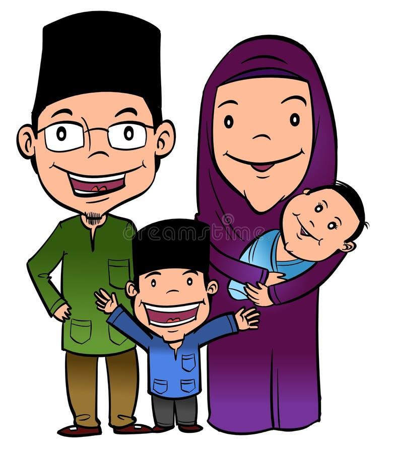 lyckliga muslim för familj royaltyfri illustrationer