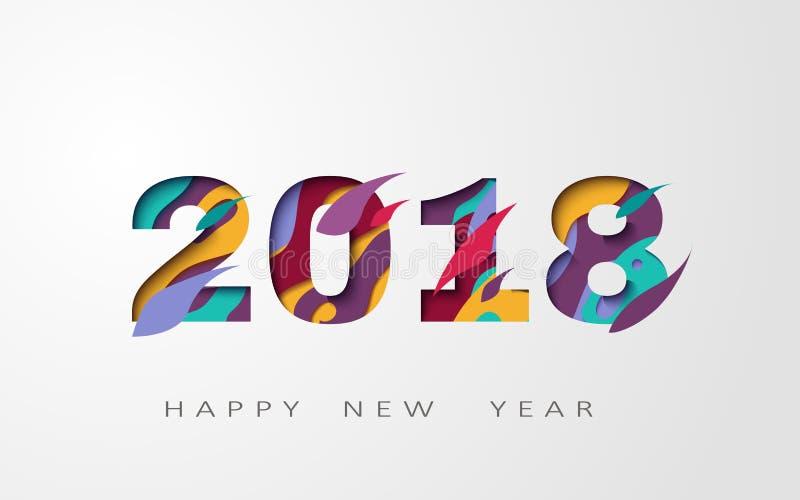 2018 lyckliga nya år abstrakt design 3d, vektorillustration royaltyfri illustrationer