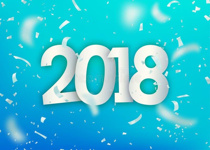 2018 lyckliga nya år Försilvra konfettier, mycket små pappers- stycken på ljus - blå bakgrund royaltyfri illustrationer