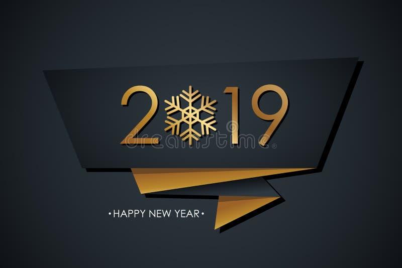 2019 lyckliga nya år firar banret med guld- kulör design för 2019 text, snöflingan och svart bakgrund vektor illustrationer
